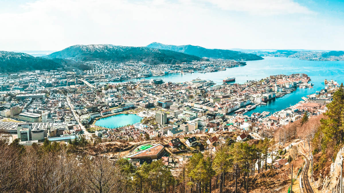 panoramic view of the city of bergen in norway and the surrounding fjords