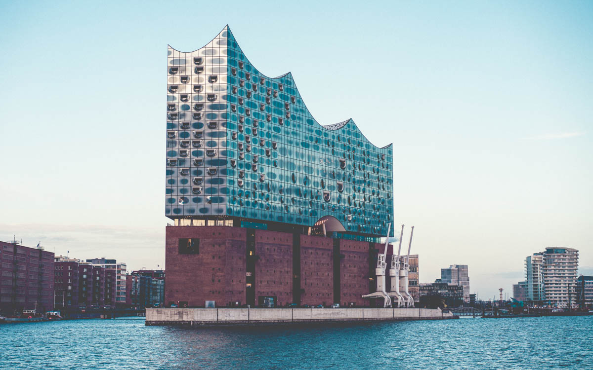 elbphilharmonie concert hall in the port of hamburg in germany, build of red bricks and modern glass