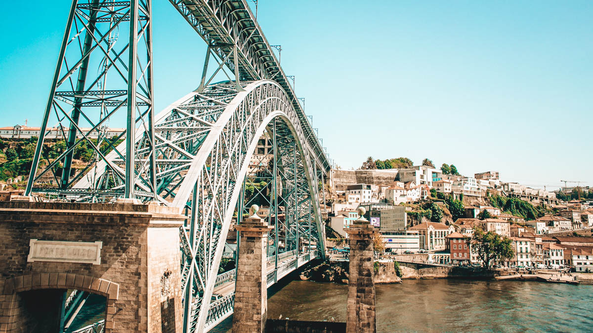 dom luis I-bridge made in metal with two floors crosses the douro river from ribeira to vila nova de gaia in porto portugal